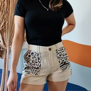 Animal Leopard Print Linen Safari Cuffed Shorts